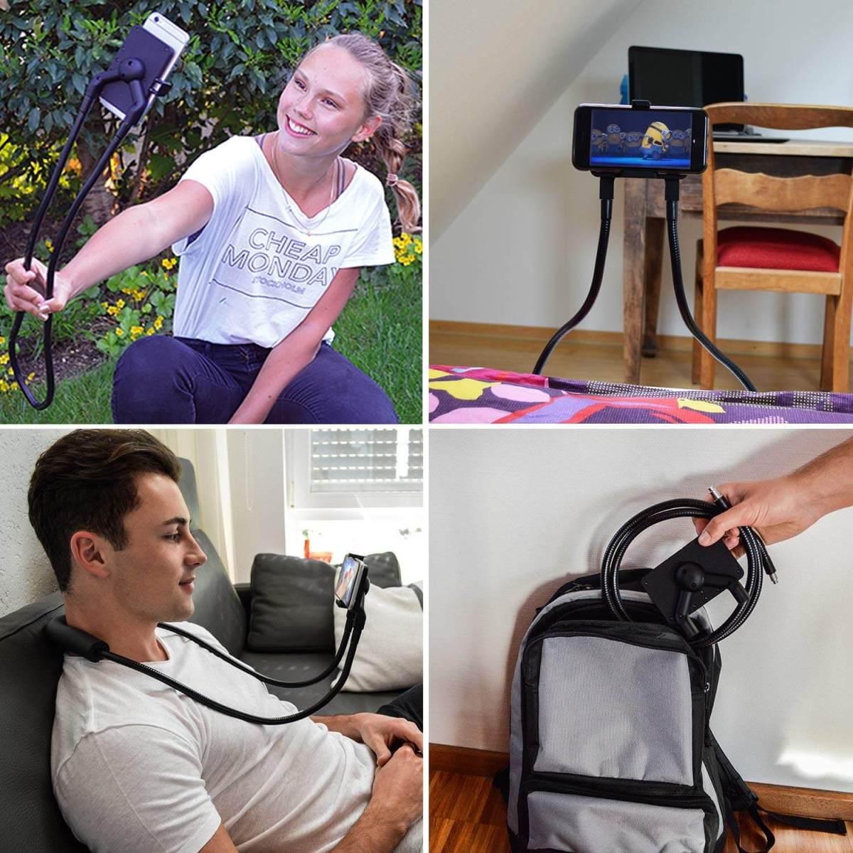 Praktischer Handyhalter - Multifunktions Selfiestick - freihändig Smartphone - Handy ohne Hände gucken