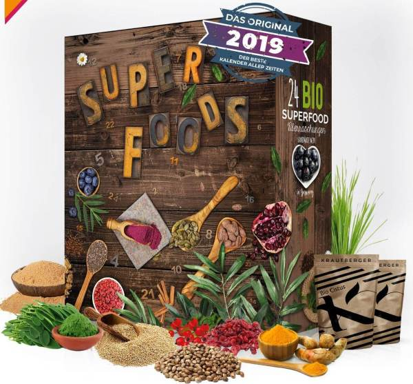 11 Superfood Adventskalender - Super Foods im Kalender zu Weihnachten - Super Food in Bio Qualität im Adventskalender