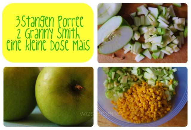 Porree Apfel Mais Salat | Rezept Party Speisen | waseigenes.com