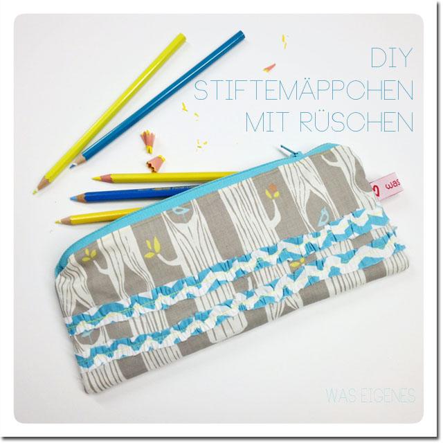 DIY Stiftemäppchen mit Rüschen {Anleitung zum Selbermachen}