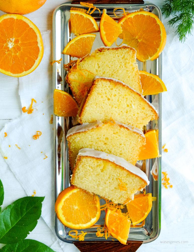 Rezept: Orangenkuchen mit Zuckerguß | Saftig fluffiger Orangenkuchen #Rezept #Orangenkuchen #Kuchen #Kastenkuchen #Kastenform #backen waseigenes.com