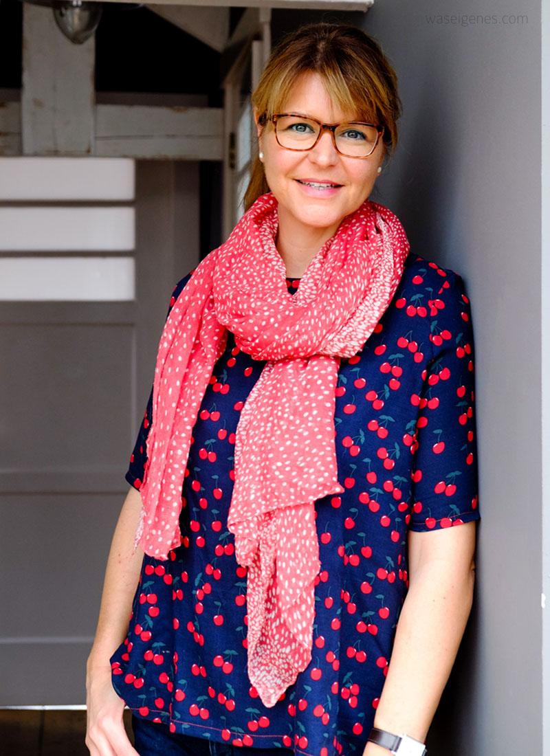 DIY Tunika Bluse mit Kellerfalte | Schnittmuster Frau Yoko | Kirschen Stoff | waseigenes.com DIY Blog