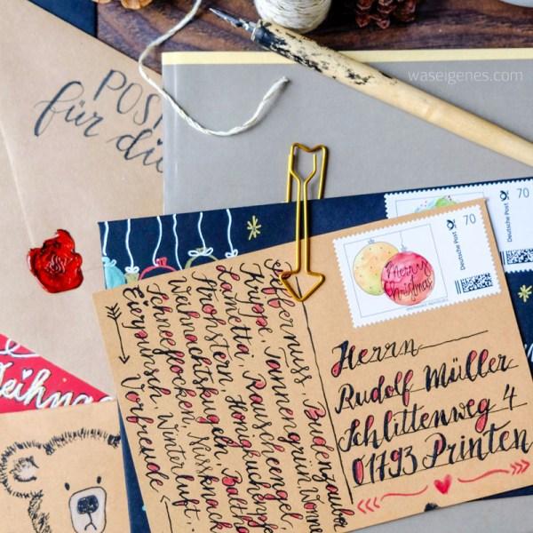DIY Briefumschläge schreiben und gestalten | Briefe an den Weihnachtsmann | Kalligrafie und Handlettering | Briefmarke individuell | waseigenes.com DIY Blog