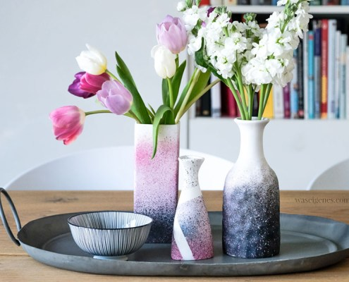 DIY Vasen rosa grau Pinty chalk Spray waseigenes.com