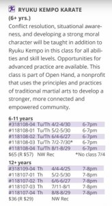 Open Hand classes-Fall-2019