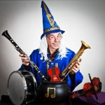 Magician with musical instruments
