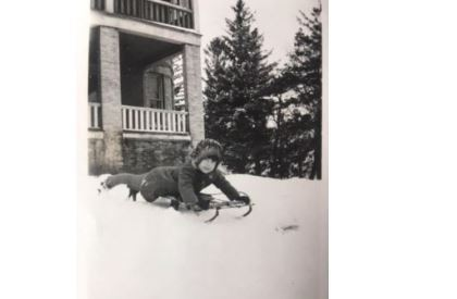 A young Betty Nelson enjoying the snow