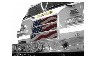 Slinger Fire Department graphic of a fire truck with a U.S. Flag in the front grill