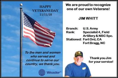 Jim Whitt of Weasler Engineering is a veteran