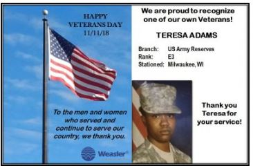 Teresa Adams served in the Army Reserves