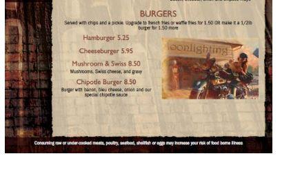 Moonlighting menu