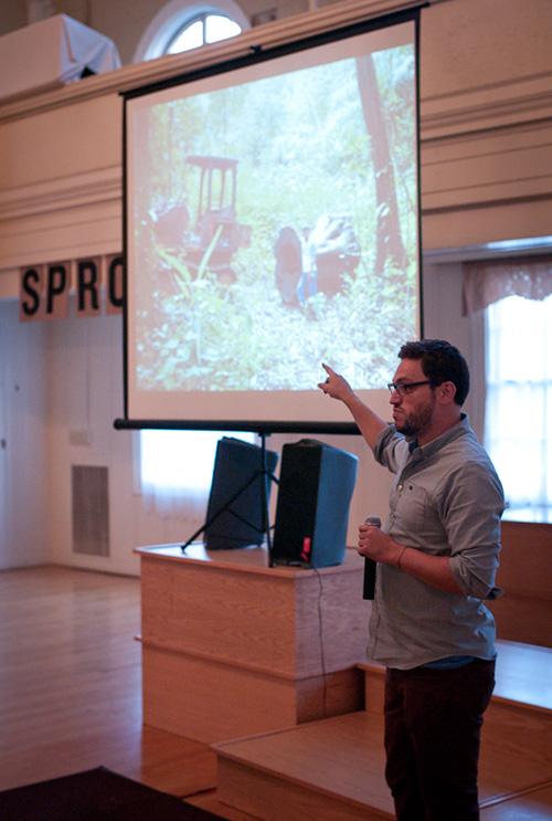 Winning filmmaker, Ian Bell, presents on his project.