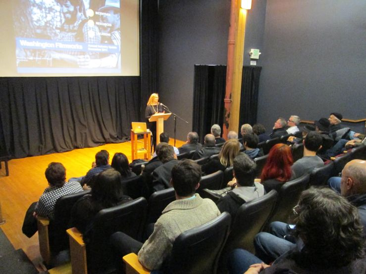 Washington Filmworks Executive Director Amy Lillard giving the Annual Industry Update at Seattle's Northwest Film Forum.