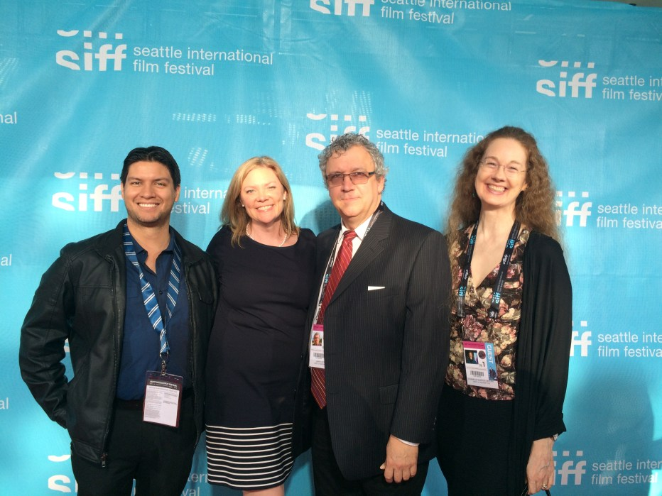 WEST OF REDEMPTION's Tony Becerra (Producer), Larry Estes (Producer), Cornelia Duryee Moore (Director) with Washington Filmworks Executive Director Amy Lillard at SIFF Opening Night.