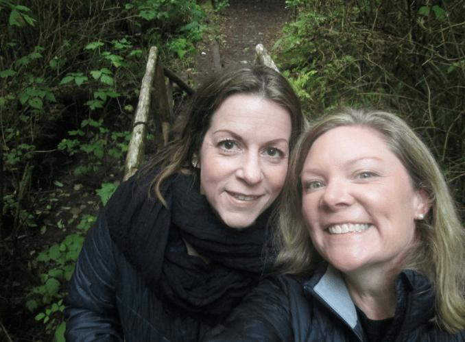 Lillard and Karns on the Seabrook Hiking Trail. Photo credit: Washington Filmworks