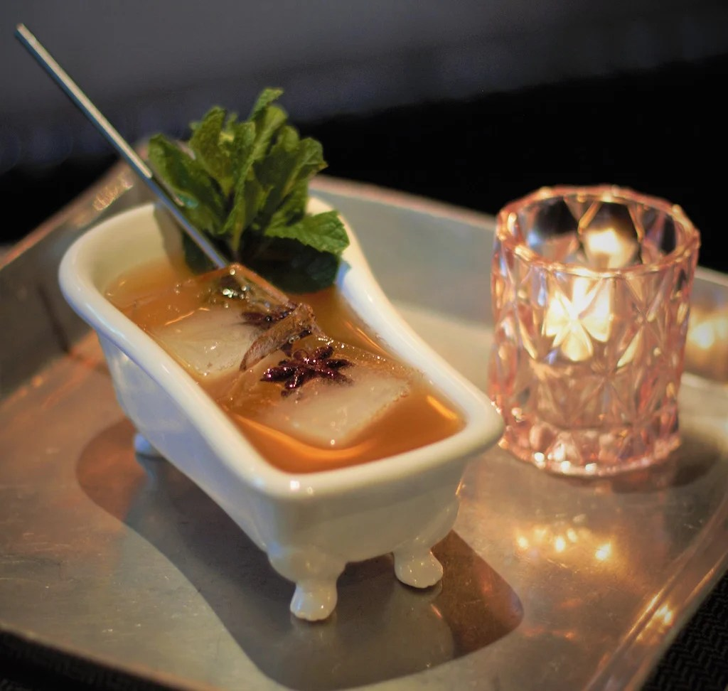 This Gin Cocktail Is Served In A Miniature Bathtub
