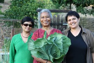 "This photo released by PBS shows Alice Walker, center, with director Pratibha Parmar, left, and producer Shaheen Haq of American Masters ""Alice Walker: Beauty in Truth,"" in Northern California. (AP Photo/PBS, Trish Govoni)"