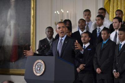 """President Obama during his press conference for """"My Brother's Keeper"""" (courtesy of Freddie Allen/NNPA)"""