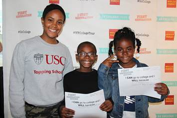Youth attendees shared educational aspirations during the Wells Fargo and First Generation Films Go College! red carpet community screening of the award-winning documentary, First Generation at LA Live in Los Angeles.