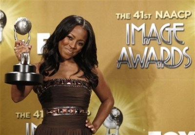 Actress Keshia Knight Pulliam poses backstage with the award for outstanding supporting actress in a comedy aeries at the 41st NAACP Image Awards on Friday, Feb. 26, 2010, in Los Angeles. (AP Photo/Matt Sayles)