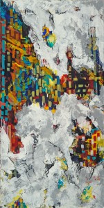 "Francesca Britton, ""City in the Clouds,"" mixed media on canvas. Via Zenith Gallery."