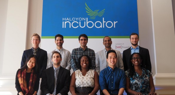 This year's Halcyon Incubator Fellows. Back, left to right: Kristof Grina, Daniel Hill, Faran Negarestan, Prasoon Kumar, Sam Pressler, Yoko K. Sen, Jeffrey Prost-Greene, Eric Shih, Farah Brunache