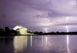 Two cloud-to-ground lightning bolts strike west of Washington, D.C. September 27, 2012 (Kevin Ambrose)