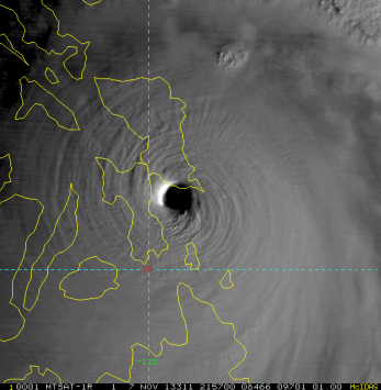 Visible satellite view of Super Typhoon Haiyan making landfall in the Philippines early Friday morning local time.