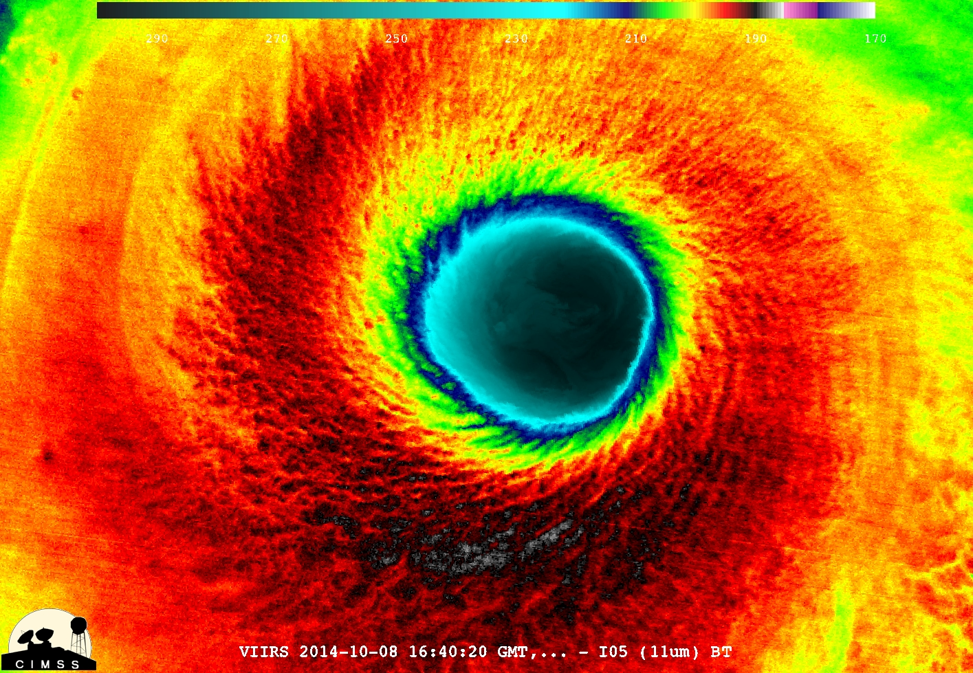 Infrared satellite image of Super Typhoon Vonfong's massive eye on Wednesday. (CIMSS via Facebook)