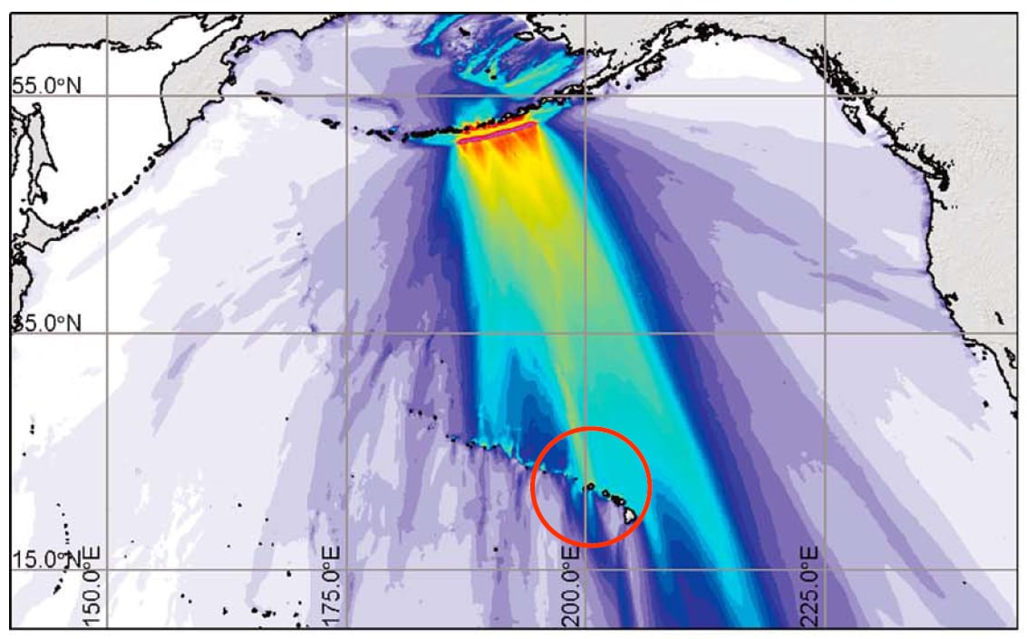 Maximum tsunami amplitude in meters for an earthquake originating in the East Aleutian islands with a magnitude of 9.25. The resulting tsunami is pointed directly at the island of Kaua'i. Hawaii is circled. (GRL)
