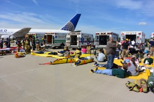 """Patient"" rescues during the Dulles emergency exercise in May. Photo courtesy of MWAA."