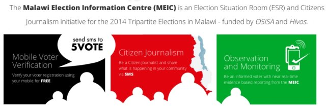 Screenshot of MEIC's web site, where Malawians can check their voter registration status.