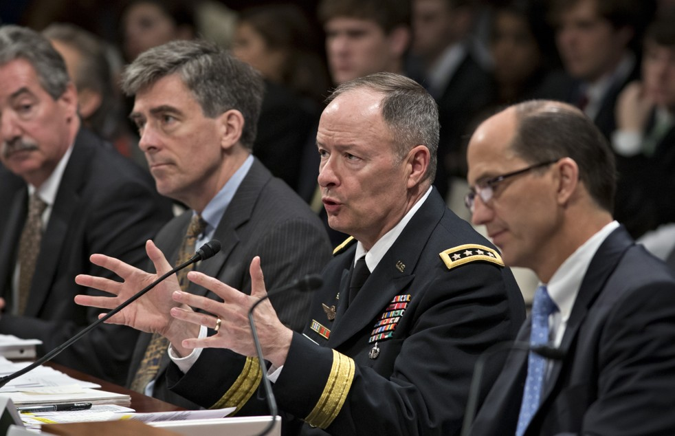 National Security Agency Director Gen. Keith Alexander, second from right, testifies on Capitol Hill on Tuesday. (J. Scott Applewhite/AP)
