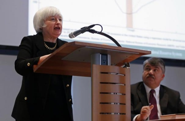 Yellen speaks at an AFL-CIO event; at right is Richard Trumka, the federation's president. (REUTERS/Kevin Lamarque)