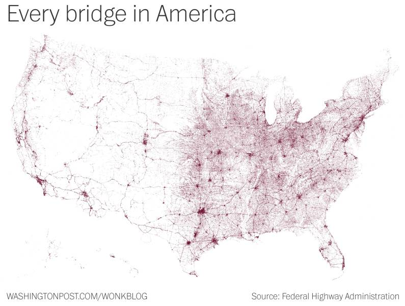 A Map of Every Bridge in the United States   News   Planetizen     in the United States longer than 20 feet
