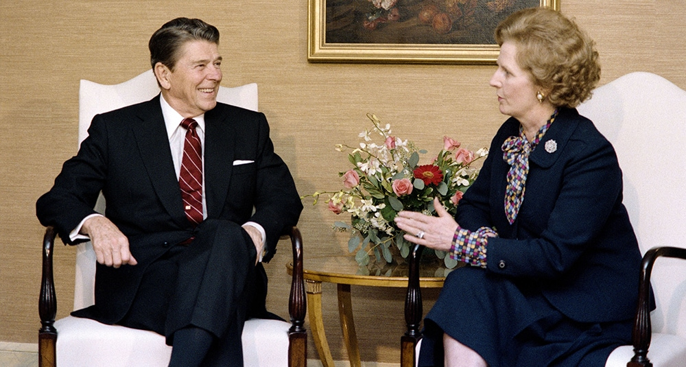 President Reagan and Prime Minister Margaret Thatcher talk in New York in 1985. (MIKE SARGENT/AFP/Getty Images)