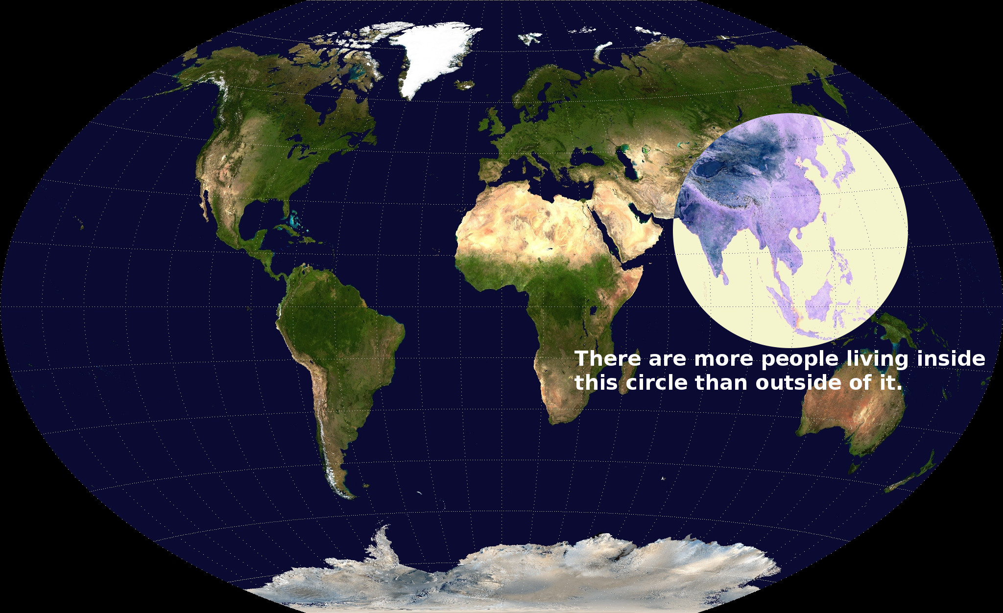 Map More Than Half Of Humanity Lives Within This Circle