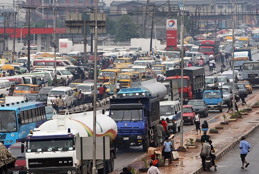 Traffic moves through downtown Lagos, Nigeria. (Dan Kitwood/Getty Images)