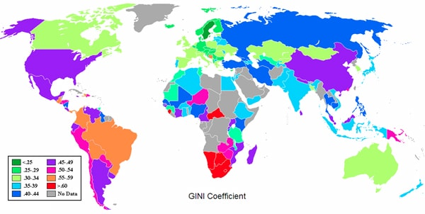 Higher gini coefficient scores indicate higher economic inequality. (Wikimedia Commons)