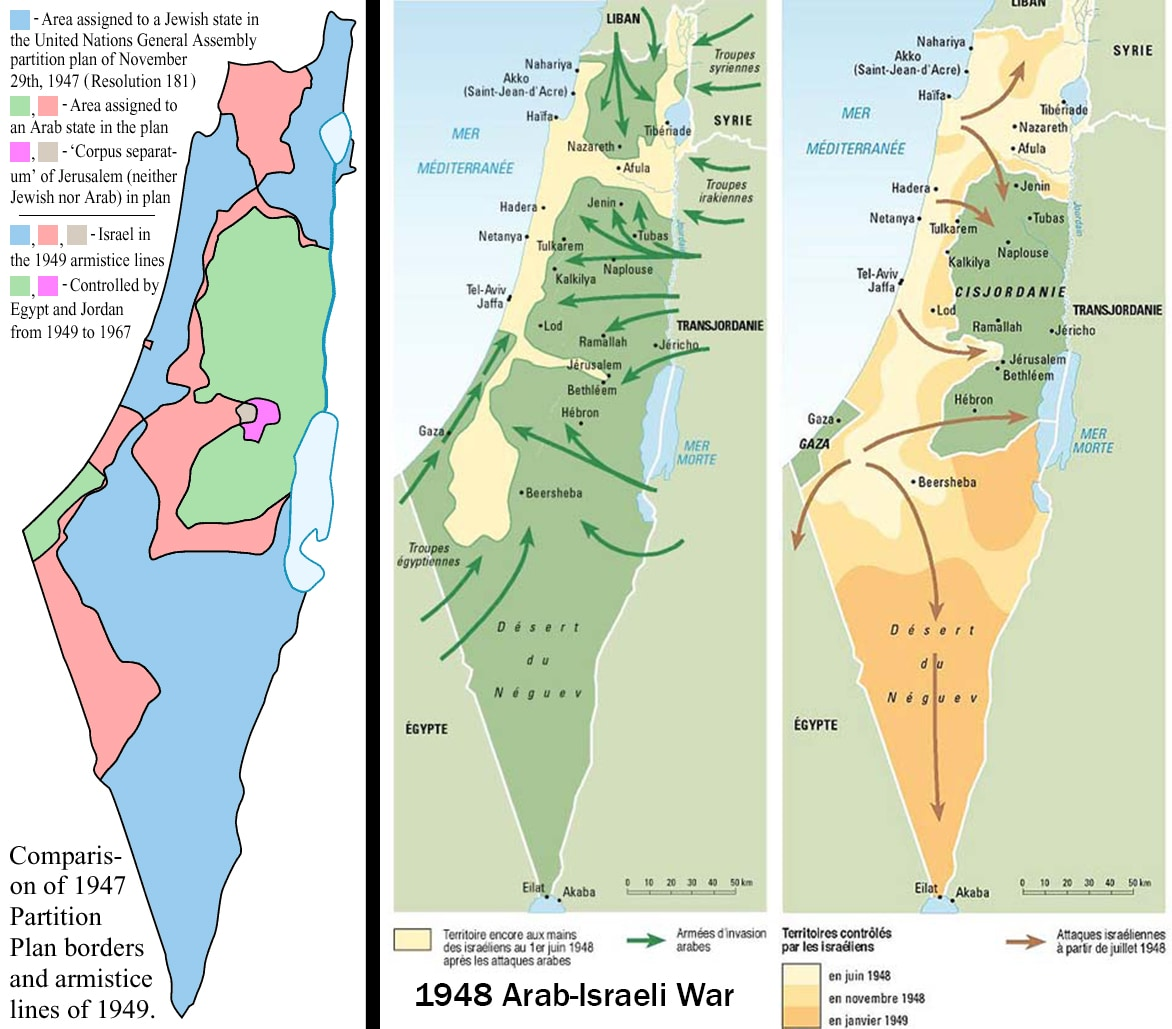 The leftmost map shows, in blue, Israel as established by UN resolution in 1947. Red shows the initial Arab state; green is the Arab state after the 1949 armistice. The center map shows the advance of Arab armies in the 1948 War. The right-most map shows the advance of Israeli armies in that war. (Wikimedia commons)