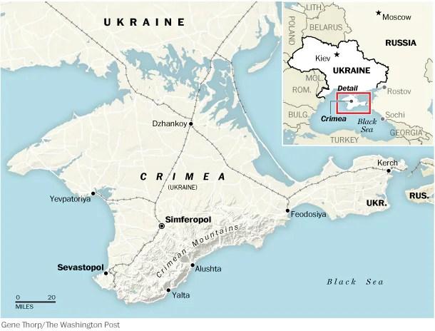 Χάρτης της Κριμαίας και της Ουκρανίας