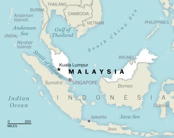 A map of Malaysia (Laris Karklis / The Washington Post)