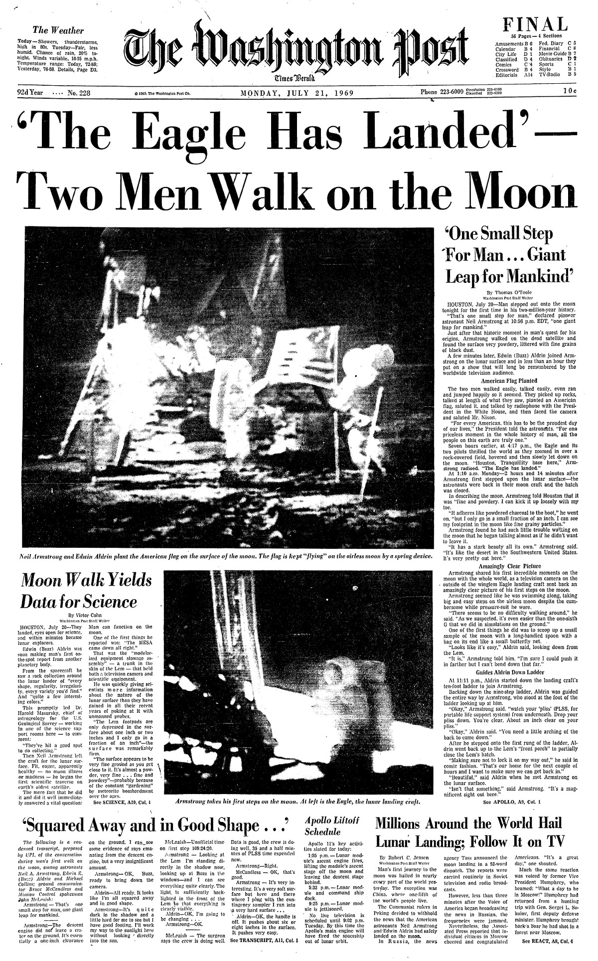 The Eagle Has Landed How The Post Covered The Apollo 11 Landing