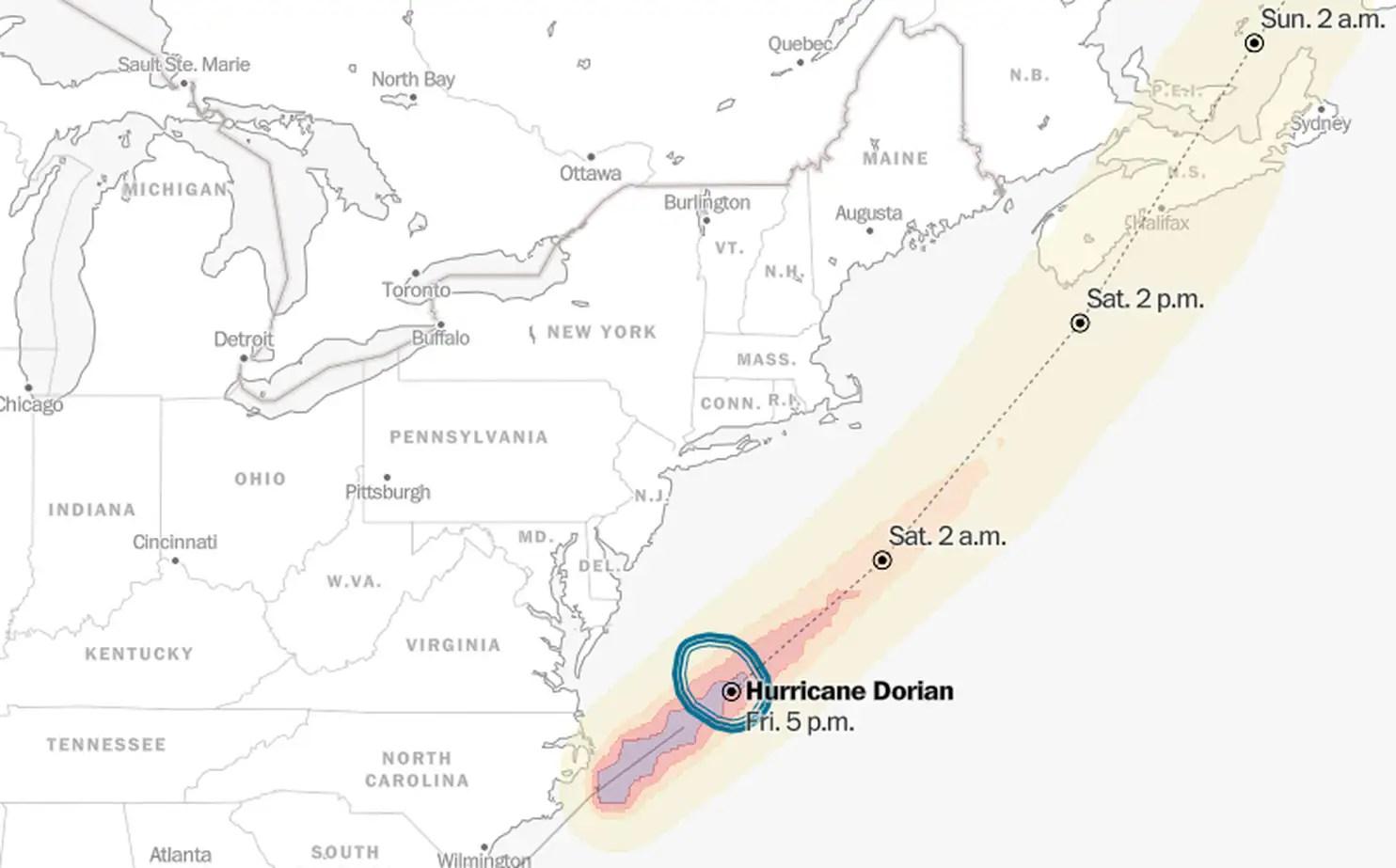 Tracking The Path Of Hurricane Dorian