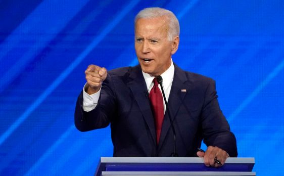 Former vice president Joe Biden speaks during Thursday's debate. (Mike Blake/Reuters)