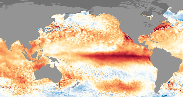 Sea surface temperature anomalies during the 2015-2016 El Nino event. (NOAA)