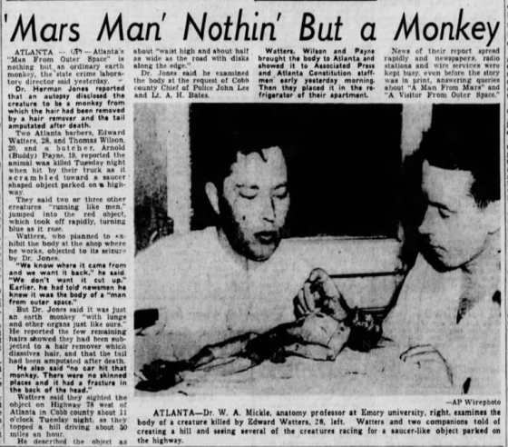 """The Tennessean and papers nationwide ran stories after the """"Mars man"""" hoax was exposed. (Associated Press/Newspapers.com)"""