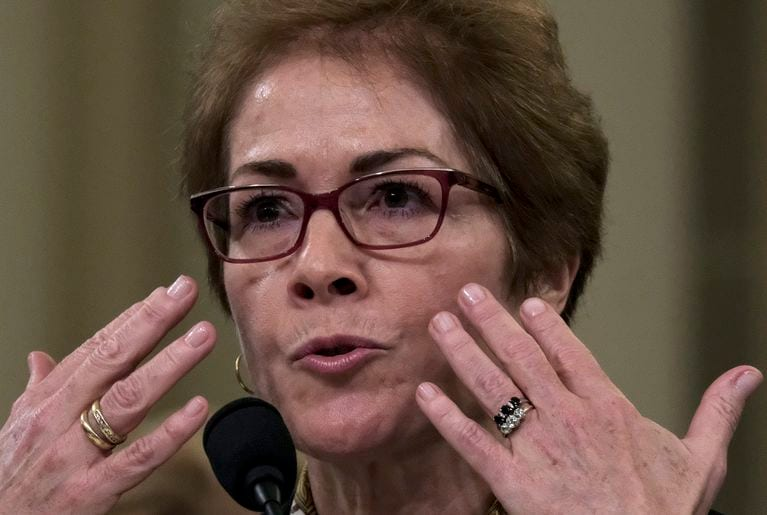 Former U.S. ambassador Marie Yovanovitch describes how she felt reading President Trump's comments about her as she testified in the House impeaching hearings Friday. (Bonnie Jo Mount/The Washington Post)