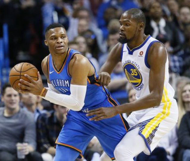 Russell Westbrooks Thunder And Kevin Durants Warriors Renew Acquaintances Early Meeting On Opening Night In Oakland Calif Sue Ogrocki Ap