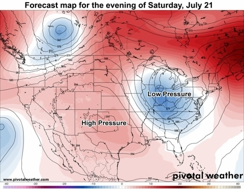 A heat wave is gaining strength over Texas and the south central     Forecast map for the middle of this weekend as high pressure is anchored  over parts of Texas   PivotalWeather com